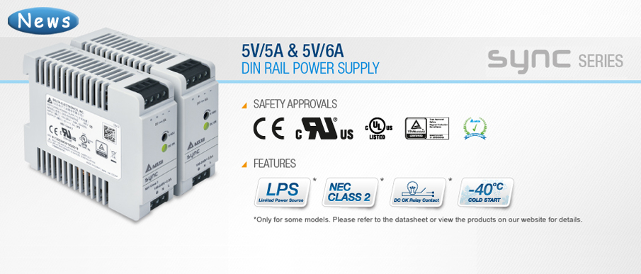 Delta Extends the Ultra Compact DIN Rail Power Supply with 5V/5A and 5V/6A Models